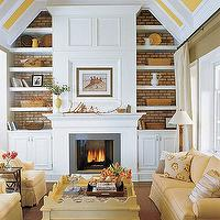 living rooms - built ins, fireplace built ins, built in cabinets, fireplace built in cabinets, white and yellow living room, scalloped coffee table,