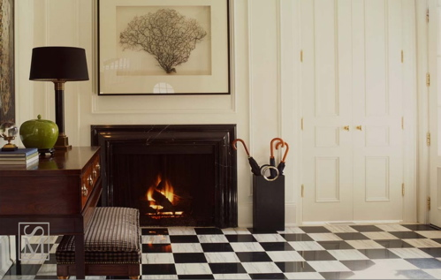 entrances/foyers - ivory black sea fan art black white checker tiles cherry stained console table lamp fireplace doors entrance foyer  Thanks