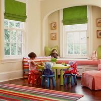 Sloan Mauran Interior Design - girl's rooms - window seat alcove, built in window seat, kids window seat, girls window seat, playroom window seat, green roman shades,