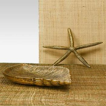 Antique Gold Starfish & Whelk Tray