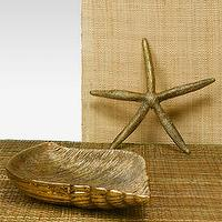 Decor/Accessories - Antique Gold Starfish & Whelk Tray - starfish, seashell