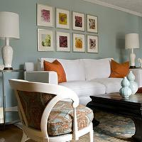 Angie Hranowski - living rooms - white, sofa, blue, walls, orange, silk, pillows, black, asian, table, blue, orange, rug,  Inspiration Family