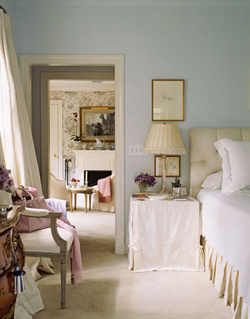 bedrooms - Benjamin Moore - Palladian Blue - tufted headboard slipcovered nightstand lamp chair drapes  soft and serene  blue walls paint color