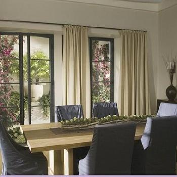 dining rooms - purple dining chairs, slipcovered dining chairs, purple slipcovered dining chairs, steel and glass doors,  Holiday Movie Set