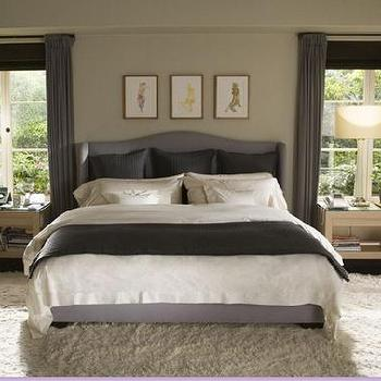bedrooms - gray walls, gray and purple room, gray and purple bedroom, purple and gray room, purple and gray bedroom, purple headboard, purple wingback headboard, purple bedding, white and purple bedding, purple curtains, purple drapes, purple window panels,
