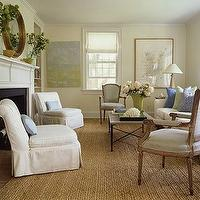 Lynn Morgan Design - living rooms - brown, lavender, green, white, wood, round, beveled, mirror, fireplace, seagrass, rug, white, slip-covered, slipper, chairs, blue, yellow, green, pillows, white, sofa, black, iron, travertine, top, coffee table, lamp, art, living room,