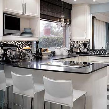 Candice Olson - kitchens - kitchen peninsula, candice olson kitchen, candice olson kitchens, candice olson rooms, candace olson design, candice olson interior design, candice olson, black and white kitchen,