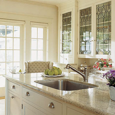 kitchens - leaded glass cabinets, leaded glass kitchen cabinets, granite counters, granite ocuntertops,  kitchen  beautiful ivory kitchen design