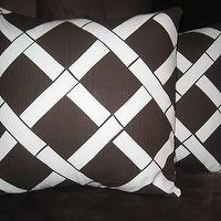Pillows - Etsy :: nenavon :: Pair of Decorative Pillow Covers-16 inch-Lattice Print - lattice pillow, chocoloate brown, white