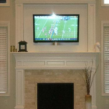 living rooms - TV over fireplace, grant beige, travertine tiles, travertine subway tile, travertine subway tiles, travertine fireplace tiles, Travertine Subway Tiles,