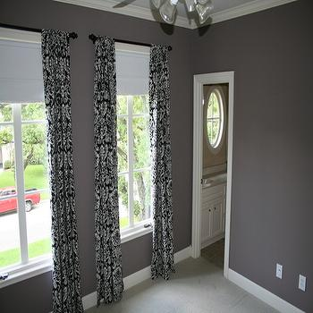 dens/libraries/offices - damask drapes, black and white damask drapes, damask curtains, black and white damask curtains,  black and white damask