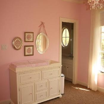 nurseries - pink nursery, pink nursery ideas, pink paint, pink wall paint, pink paint colors, changing table, sherwin williams pink, sherwin williams pink colors, sherwin williams pink paint,