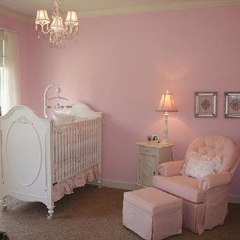 nurseries - pink nursery, pink nursery ideas, pink paint, pink wall paint, pink paint colors, changing table, sherwin williams pink, sherwin williams pink colors, sherwin williams pink paint, white and pink nursery, pink nursery glider, pink tufted glider, french rib, white french crib.,
