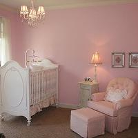 nurseries: gingham, toile,  Pink and super girly nursery; fabric for valances is backordered
