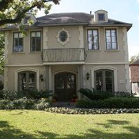 home exteriors - pansies, pumpkins, mums, faux chateau,  Our house ready for fall  home exterior