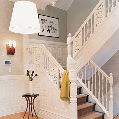 entrances/foyers - pendant lighting staircase runner  Foyer with huge white linen pendant light!   tapered drum pendant, sisal stair runner and