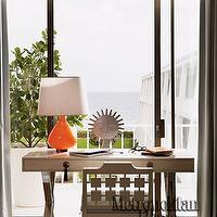 Elle Decor - living rooms - X-base, desk, orange, lamp, sliding, glass doors, lacquer desk, white lacquer desk, white desk,  Jonathan Adler's