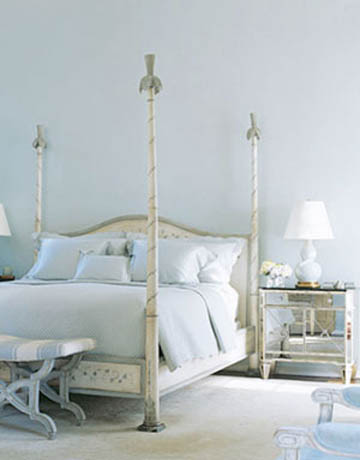 Mirrored nightstand french bedroom house beautiful for French blue bedroom design