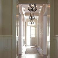 House Beautiful - entrances/foyers - pendants,  Lanterns and striped walls