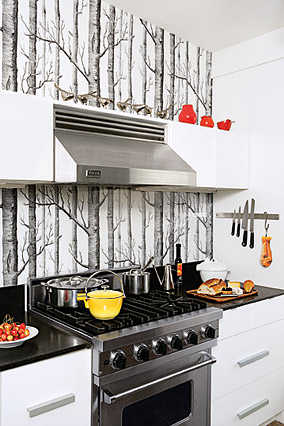 trees and branches wallpaper as kitchen backsplash? messy! white gray silver