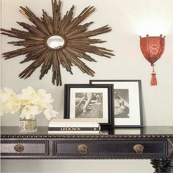 Antonia Hutt - entrances/foyers - starburst mirror, gold starburst mirror, black console table,  Wood sunburst mirror and black desk console