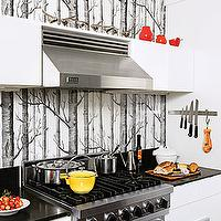 kitchens - white cabinets, backsplash, woods wallpaper, wallpaper backsplash, kitchen backsplash, wallpaper kitchen backsplash, Anthropologie Woods Wallpaper,
