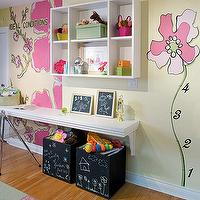 Cute yellow & pink play area in girl's nursery room!  Chalkboard storage boxes, ...