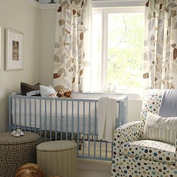 Sarah Richardson Design - nurseries - ikea curtains, ikea drapes, ikea window panels, ikea panels, ikea window treatments, blue crib, blue nursery crib, blue and tan boys nursery, blue and tan nursery, two tone walls,