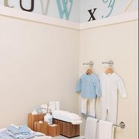 Sarah Richardson Design - nurseries: changing table, wall letters, blue, brown, white, cream, boy's room, nursery,  Precious boy's room nursery!