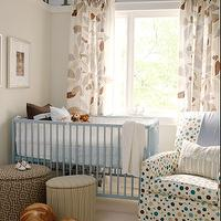 Sarah Richardson Design - nurseries - white, brown, blue, leaf, drapes, brown, gray, round, ottomans, white, brown, blue, polka dot, glider, striped, gray, lumbar, pillow, picture ledge, blue, gray tan walls, ikea curtains, ikea drapes, ikea window panels, ikea panels, ikea window treatments,