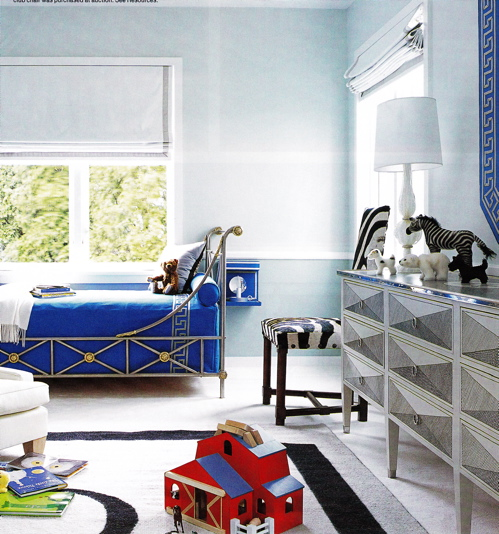 Greek inspired room Boy's room with Greek bed and