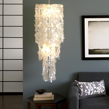 Home - long hanging capiz pendant lamp | west elm - capiz, chandelier, pendant, lamp, west, elm, shell, cream