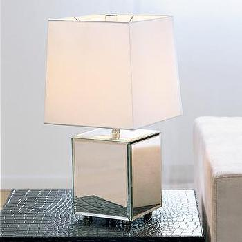 cube mirror lamp, west elm, sale $69