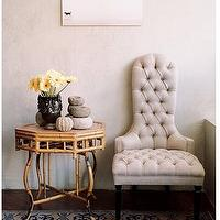 entrances/foyers - ivory, tufted, chair, faux, bamboo, table, blue, rug,  adorable tufted upholstered chair with cane table    ivory tufted chair,