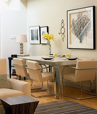 dining rooms - gray tan ivory sea fan art silver dining table ivory modern dining chairs gray striped rug ivory walls dining room  Design Inc!