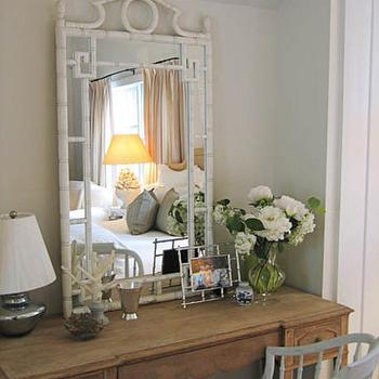 bedrooms - gray walls, faux bamboo mirror, bamboo mirror, pagoda mirror, white faux bamboo mirror, white bamboo mirror, white pagoda mirror, farmhouse table, , White Lacquer Small Pagoda Mirror,