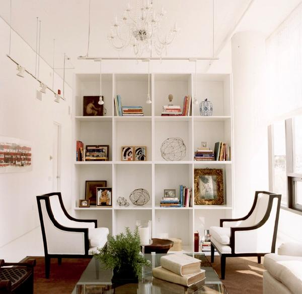 living rooms - white black chairs built-ins bookcase modern lighting pendants living room  Crisp, clean white room  Love the white chairs with