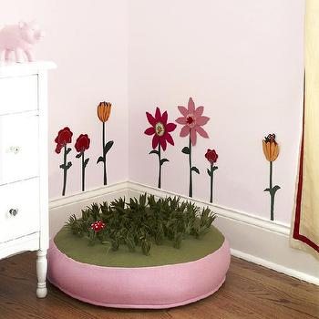 CCG Interiors - girl's rooms - girl's room, pink ottoman,  Pink girl's room!  Pink paint wall color.  Pink bedroom! Pink green girl's bedroom