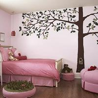 CCG Interiors - girl's rooms - girl's room, tree mural, tree wall mural, wall stencil, tree wall stencil, tree stencil for wall, pink girls room, pink girls bedroom, pink bedding, pink bedskirt, pink ottoman, pink tufted ottoman, kids wall mural, kids room mural, girls wall mural, girls room mural,