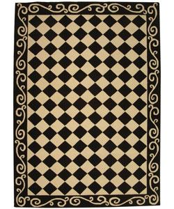 Rugs - Hand-Hooked Diamond Black/ Ivory Wool Rug (6' x 9') from Overstock.com - rug, black, white