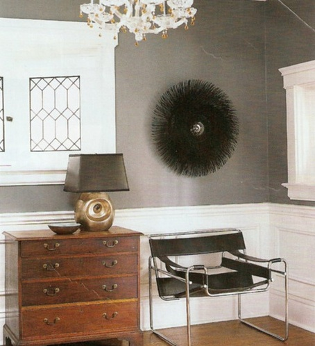 entrances/foyers - Benjamin Moore - Smoke Gray - Wassily Chair black charcoal gray brown antique chest modern black leather chair black porcupine mirror lamp black shade wainscoting charcoal gray walls paint color entrance foyer