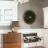 entrances/foyers - black, charcoal gray, brown, antique, chest, modern, black, leather, chair, black, porcupine, mirror, lamp, black, shade, wainscoting, charcoal gray walls, paint color, entrance, foyer, gray walls, gray paint, gray paint colors, Wassily Chair,