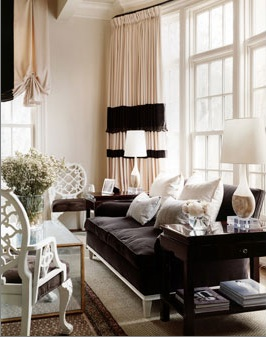 living rooms - pink brown velvet sofa white wood lattice chair glass lamps silk pink brown drapes curtains valance wood accent tables  Thanks