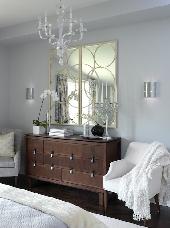 Sarah Richardson Design - bedrooms - ICI Dulux - Universal Grey - Arteriors Nikita Iron Mirror in Gold Leaf, blue, gray, brown, dresser, gold, circles, mirrors, white, chairs, lucite, acrylic, chandelier, silver, modern, sconces, gray blue walls, gray walls, gray paint, gray paint colors,
