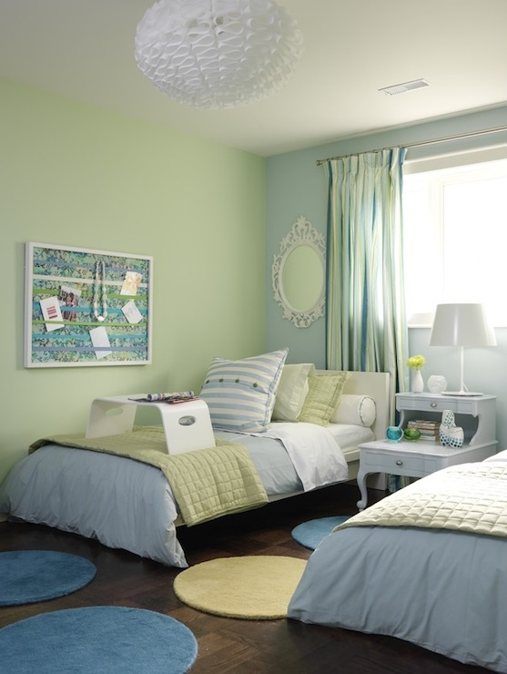 Sarah Richardson Design - boy's rooms - ICI Dulux - Shy Blossom - green and blue kids room, green and blue kids bedroom, shared kids room, kids shared bedroom, blue and green walls,