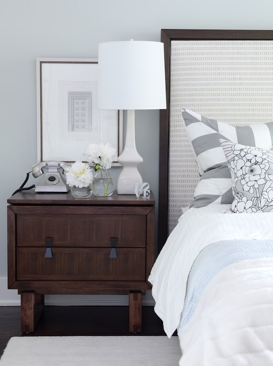 Sarah Richardson Design - bedrooms - ICI Dulux - Universal Grey - brown, gray, blue, white, lamp, wood, nightstand, cream, upholstered, wood, headboard, blue, white, bedding, gray, white, striped, stripe, pillows, gray blue walls, bedroom,