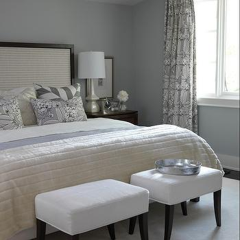 Sarah Richardson Design - bedrooms - sarah richardson bedroom, sarah richardson bedrooms, gray walls, gray paint, gray paint colors, gray bedroom walls, gray bedroom paint, framed headboard, white ottomans,