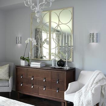 Sarah Richardson Design - bedrooms - gray blue walls, gray walls, gray paint, gray paint colors, universal gray, circles mirror, gold circles mirrors, , Arteriors Nikita Iron Mirror in Gold Leaf,