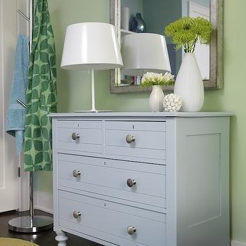 Sarah Richardson Design - boy's rooms - blue chest, blue chest of drawers, 4 drawer chest, green walls, blue and green walls, kids room, blue and green kids room,