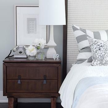 Sarah Richardson Design - bedrooms - gray walls, gray paint, gray paint colors, gray bedroom walls, gray bedroom paint, framed headboard,  Nightstand